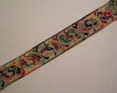 Colorful Vintage Embroidered Trim Yardage