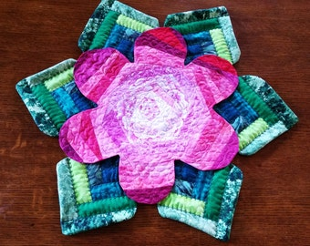 Fabulous Quilted Flower Table Topper by Sweet Tooth Quilts