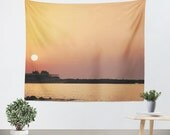 Art Tapestry Wall Hanging Sunset on the Beach Modern Photography Unique home decor yellow orange pink peach purple tones ocean sea water
