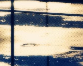 Abstract Photography - Square Photo - Wall Print - Abstract Photo - Tennis Court Photo - Urban Photograph - Navy and Tan Photo - Hipster Art