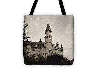 Art Tote beach Bag Neuschwanstein Castle photography Fashion photograph grey gray black Gothic photo texture German Germany Renaissance time