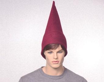Burgundy Gnome Hat Maroon Fleece Unisex Adult Womens Mens Hat Merlot Wizard Hat Tall Pointed Cap