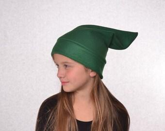 Dark Green  Elf Hat Childs Halloween Costume Stocking Cap Kids Pointed Hat