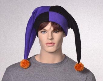 Harlequin Hat Purple Black Two Pointed Jester Cap Gold Pompoms Mardi Gras Carnivale