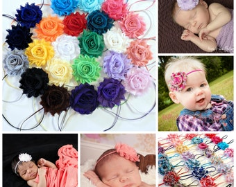 You Pick 7 - Shabby Chic Rose Headband Set, Infant Headband, Newborn Headband, Children's Headband, Women's Headband, Baby Girl Headband Set