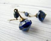 Bohemian Earring Cobalt Blue Drop Long Blue Dangle Czech Glass Earring Antique Brass Jewelry Vintage Vibe Boho Chic Hippie Bijoux