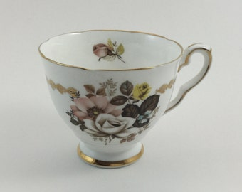 Vintage Royal Stafford Bone China Tea Cup Made in England Flowers Brown Flowers