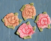 APPLIQUE Vintage Small ROSE PATCH 1980's Peach & Pink Roses Set Of 4