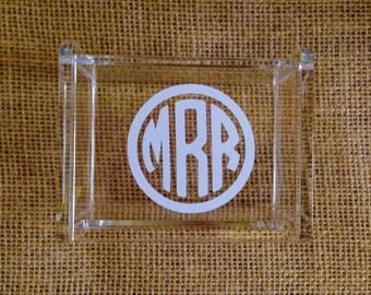 Personalized Mini Jewelry Box with Lid - Acrylic Desk Organizer