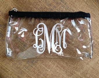 Monogram Clear Makeup Bag - Clear Cosmetic Bag