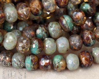 5mm x 3mm Czech Glass Picasso Bead Spacer Rondelle Rondell (30) Bohemian Gypsy Luxe Champagne Turquoise Opalite Mix - Central Coast Charms