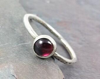4mm Garnet Ring, Stacking Ring, January Birthstone Ring
