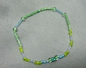 Green and Aqua Glass Bead Stretchy Bracelet