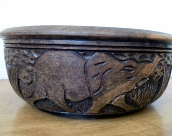 Vintage Solid Wood African Carved Bowl