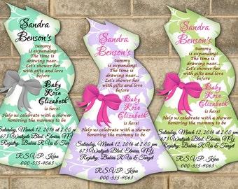 Baby Shower Invitations, Baby Bump, Belly Silhouette Invitation, Pregnancy Invitations, Mod Mom, Baby Shower Invitation, Custom Invitations