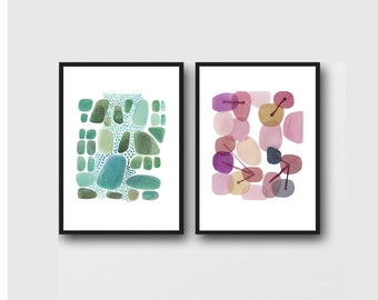 set of 2 Abstract Watercolor paintings, green pink pebbles, set of 2 prints