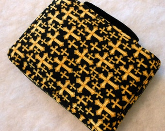 Bible Cover Gold Crosses on Black