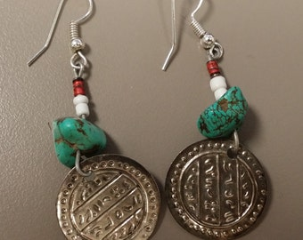 Resistor Earrings with Turquoise