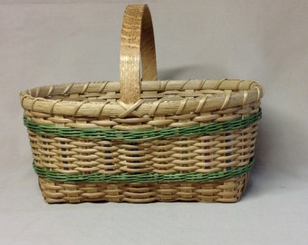 Small, Hand Woven Basket, Wood Williamsburg Handle, Light Green Accent Weaving