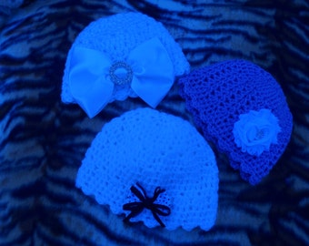 Baby girl hat, three newborn crocheted hats, lilac, white and white sparkle, READY to ship