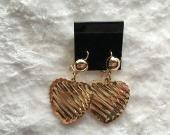 Heart Earrings, Gold Earrings, Dangle Earrings, Gold Puffed Heart, Gift for Her, Valentine Gift, Gold Jewelry,  Heart Jewelry