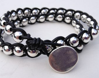 Braided Ball and  Leather Bracelet Kit - Black and silver