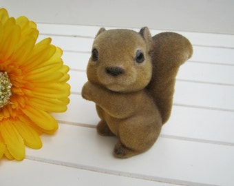 Flocked Squirrel - Fuzzy Figurine - Inarco Japan Label - Oak Hill Vintage