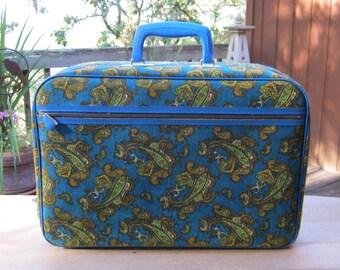 Blue Paisley Suitcase - Bantam made in Japan - Oak Hill Vintage