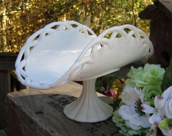 Milk Glass Banana Bowl - Wedding Centerpiece - Open Lace - Oak Hill Vintage