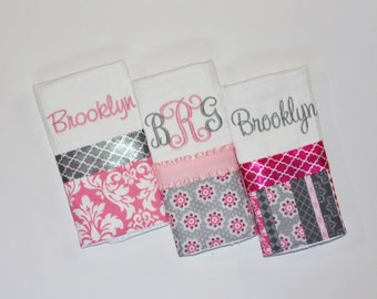 3 Personalized Burp Cloth Set in Pink and Gray - Flowers, Damask, Stripes and Quatrefoil