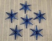 AS IS 6 Vintage Star Cabochons Blue Faceted Glass Jewelry Making Bracelet Ring Parts Craft Supply Blue Stars