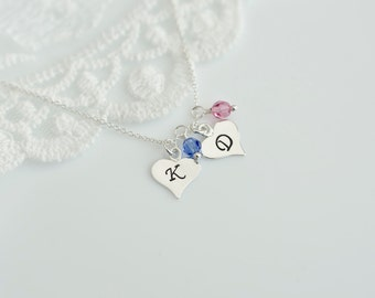 Initial Necklace, Mother, Grandmother Birthstone Initial Necklace, Sterling Silver Heart Initial Charm and Swarovski Birthstone Necklace