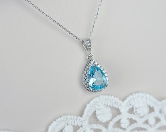 Aquamarine Necklace, Bridal Necklace, Bridesmaids Necklace, Cubic Zirconia Aquamarine Necklace, Wedding Jewelry,  Aquamarine Bridal Jewelry