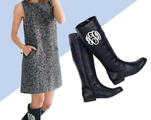 Women's Black Monogrammed Brooklyn Boots - Personalization Included