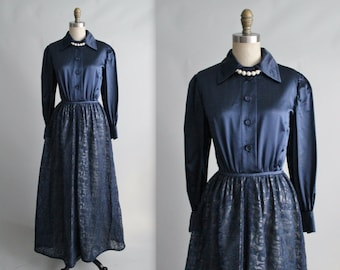 60's Navy Evening Gown // Vintage 1960's Navy Satin Lace Shirtwaist Formal Hostess Maxi Dress Gown XS