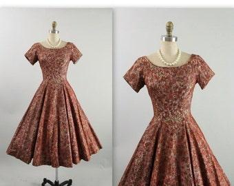 STOREWIDE SALE 50's Dress //  Vintage 1950's Jonathan Logan Lace Floral Full Garden Party Cocktail Dress XS