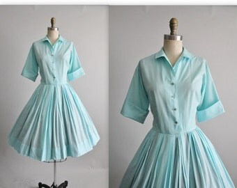 STOREWIDE SALE 50's Shirtwaist Dress // Vintage 1950's Robins Egg Blue Cotton Garden Party Shirtwaist Dress M L