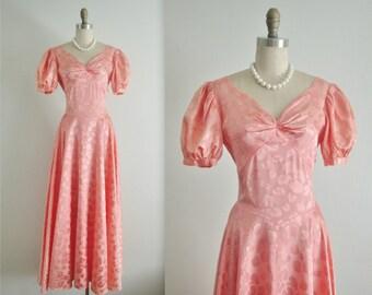 40's Gown / 1940's Peach Bias Cut Romantic Brocade Wedding Dress Gown S M