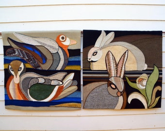 Woodland Tapestry Set by Listed Artist Helen Webber -- Ducks, Rabbits : Large Signed & Numbered Midcentury Mod Textile Fiber Art, Exc. Cond.