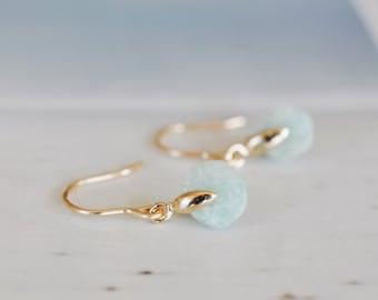 Amazonite Earrings, Rough Cut, Rondelle, Gold Earrings, Designer Earrings, Pure Design, Minimalist, Small Earrings, Gemstone Earrings, Aqua
