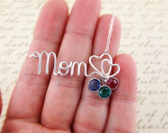 Mom Necklace, Sterling Filled Wire Wrapped Word or Name of Your Choice, Personalized Necklace, Mother Grandmother Necklace Jewelry Under 30