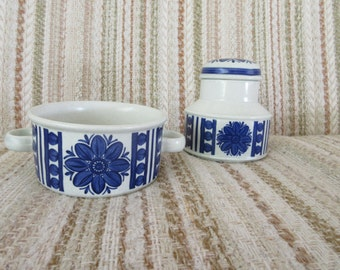 Midwinter Stonehenge Blue Dahlia Soup Bowl and Sugar Pot