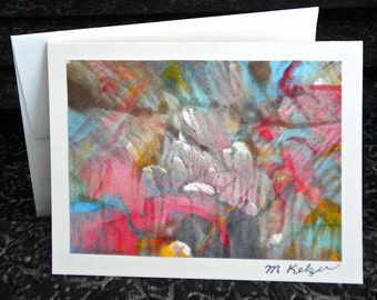 Colorful Hand Painted Notecards - Paste Paper Originals