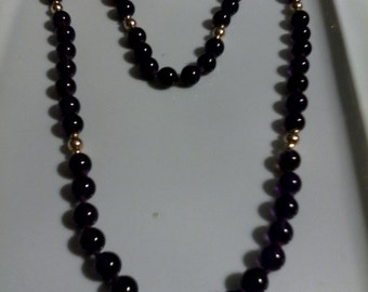 A Real Amythest beaded necklace