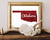 Oklahoma Watercolor Digital Printable Art - Wall Art Home Decor - Football Season Print - Print at Home DIY Gift