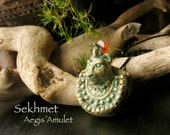 Sekhmet Aegis Amulet - Lioness Goddess - She Who Is Powerful  - Handcrafted Clay Pendant with Natural Carnelian Disc and Aged Brass Patina