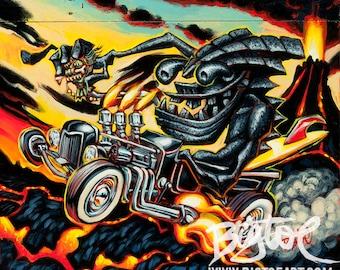 Lava Tiki Hot Rod small archival giclee art print