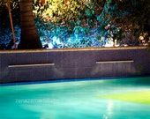 Swimming pool at Night, fine art photography, tropical wall art, large wall art, swimming pool art, gifts for swimmers