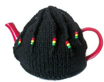 Rasta Tea Cosy with Braids Hand Knit Jamaica Novelty