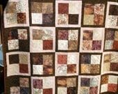 """RESERVED MELISSA HAMNERStunning Twin/Full/Lap appx 68"""" X 70"""" peach, browns and cream"""